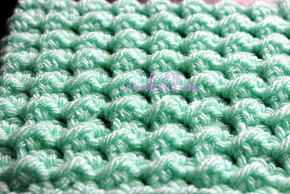 Crochet K Stitch : How to crochet the Moss Stitch, written instructions