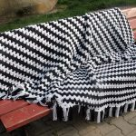 Crocheting a Black & White Granny on the Straight Blanket