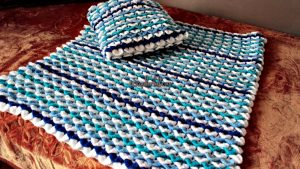 Shades of Blue and White Crocodile Baby Blanket by Coolorful
