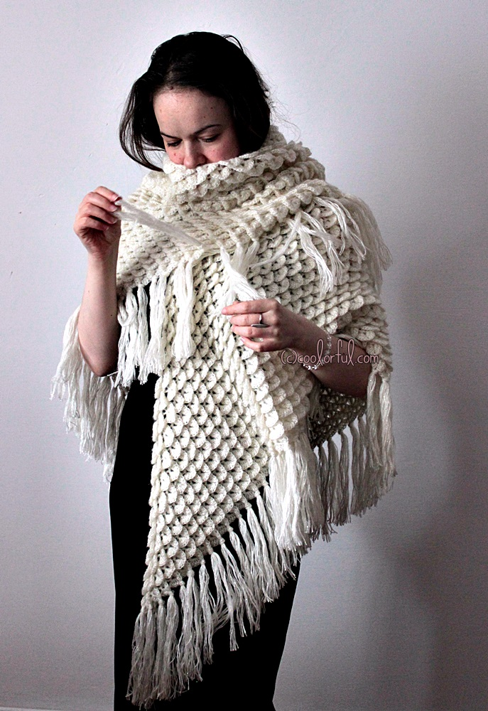 Crocheted Triangle Crocodile Shawl