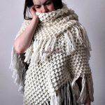 Crocheted Triangle Crocodile Shawl